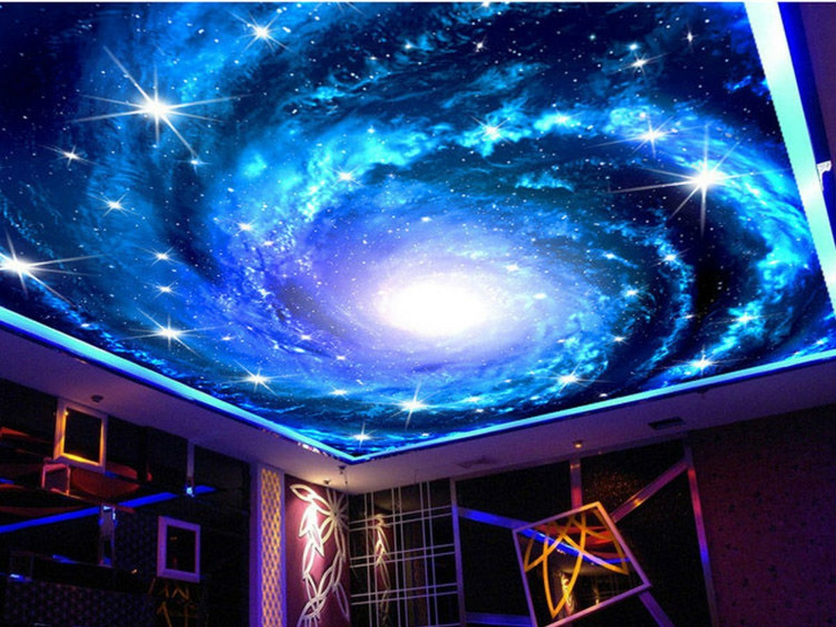 простые потолок фотопечать космос элитный